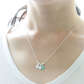 Mint and White Teardrop Necklace