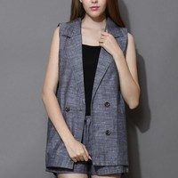 Basic Sleeveless Blazer and Shorts Set in Grey