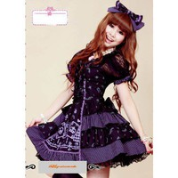 Purple Fringe Short Sleeve Knee Length Gothic Lolita Fashion Dresses SKU-11402143