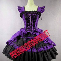 Victorian Gothic Lolita Cotton Purple Dress Ball Gown Knee length dress | eBay