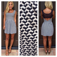 South For The Summer Textured Dress - NAVY