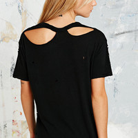 Pins & Needles Washed Torn Tee in Black - Urban Outfitters