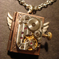 Steampunk Neo Victorian Watch Movement LOCKET by CreepyCreationz