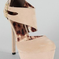Qupid Miriam-13 Ankle Cuff Platform Pump