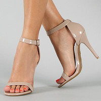 Strappy Ankle Heels-Nude