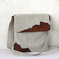 Natural Linen and leather bag messenger cross by HelloVioleta