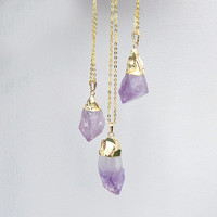 Amethyst Cluster Necklace in Gold by Black Bones Jewellery