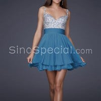 Amazing A-line Straps Chiffon Cocktail Dress with Beadings-SinoSpecial.com