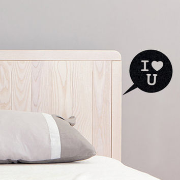 Speech Bubble Black Velvet Sticker - I Love You Bedroom Wall Decor - I Heart U Laptop Decal