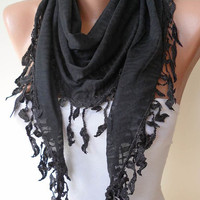 Black Scarf with Black Trim Edge Triangular by SwedishShop