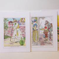 Nursery Rhymes-Set of Five Cards-Vintage Original Mother Goose Illustration-Blank Cards