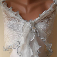Silvery White Scarf with Special Edge Tulle Fabric by SwedishShop
