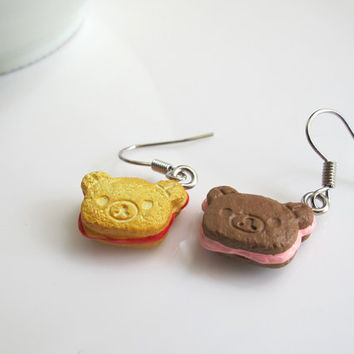 Japanese Sweet Kawaii Bear Dessert Cookies Mixmatch Colour Flavours Earrings. Bear Sandwich Cookies