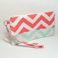 Coral Wristlet - Mint Clutch - Clutch Bag - Cell Phone Wristlet - Clutch Purse - Wristlet Wallet - Chevron Wristlet - Wristlet Clutch