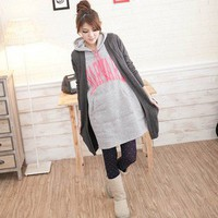 Leisure Pure Color Long Wool Kiniting Cardigan Coat Dark Grey-Wholesale Women Fashion From Icanfashion.com