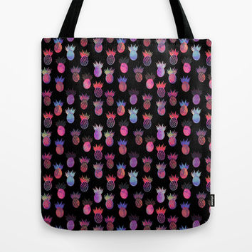Tutti Frutti Black Tote Bag by Schatzi Brown