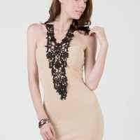 Beige dress with crochet lace halter design