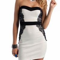 lace tube dress $29.40 in FUCHSIA IVORY - Nightclub | GoJane.com