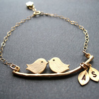 Bridal Shower Gift LOVE BIRDS BRACELET by BlueDoveStudio on Etsy