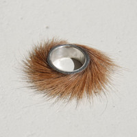 handmade silver and fur ring 'tickle'