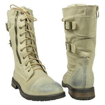 Women's Mid Calf Combat Canvas Lace Up and Zipper Casual Comfort Boots Beige