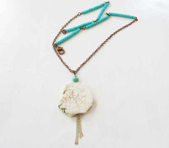 White Turquoise bead necklace with turquoise by SeptemberWillow