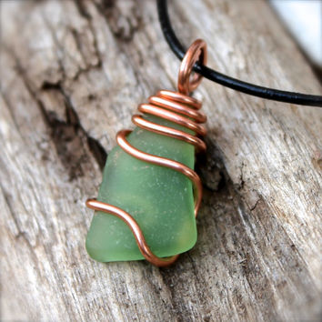 Sea Glass Necklace - Men's Jewelry from Hawaii - Sea Glass Wire Wrap Necklace - Seaglass Jewelry made in Hawaii - Boho Leather Necklace