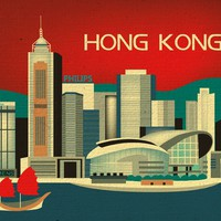 Hong Kong, China - Asian + Pacific Skyline Poster Print - 100% Recycled and Signed by the Artist (Canvas Print also Available)
