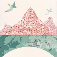 ARCHIVAL PRINT 'Passage' / map art collage cartography travel birds mountains antarctic pattern embroidery geometry red thread