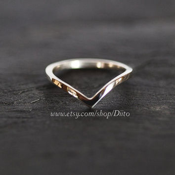 Size 6, Sterling Silver, Handmade Jewelry, Chevron Ring, Wishbone Ring, Statement Ring, Silver Jewelry, Ready To Ship!