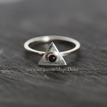 Size 7, Sterling Silver, Handmade Jewelry, Triangle Ring, Onyx Stone Ring, Statement Ring, Geometric Ring, Ready To Ship!