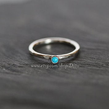 Size 6.5, Sterling Silver, Handmade Jewelry, Hammered Turquoise Ring, Stacking Rings, Simple Rings, Stone Ring, Ready To Ship!