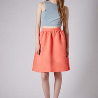 TEXTURE GATHERED KNEE MIDI SKIRT