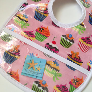 Cupcake Vinyl Baby/Toddler Bib with Snap Closure
