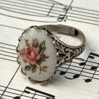 Vintage Pink Rose Cameo Ring by ragtrader on Etsy