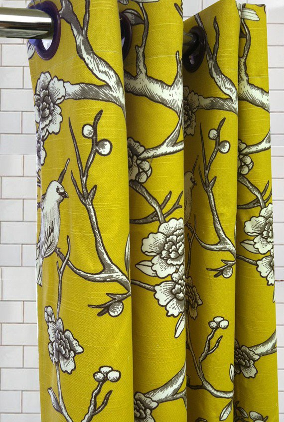Standard Tub Shower Curtain  Dwell Vintage Birds by maisonboutique