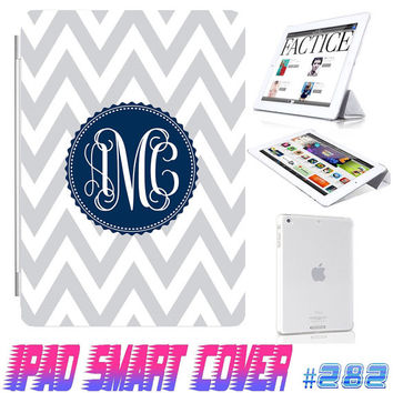 USA Custom Grey Chevron Monogram @ IPad Air Smart Cover , IPad Mini Retina Smart Cover  IPad 4/3/2 Case Magnetic Sleep Wake Case IPhone #282
