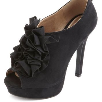 Ruffled Platform Peep Toe Booties by Charlotte Russe - Black
