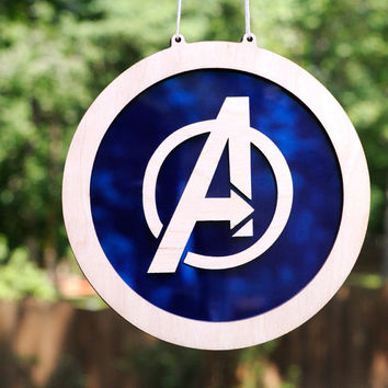 The Avengers Logo Suncatcher and Hanging Wall Art of Marvel Comics Superheroes