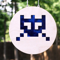 Space Invaders Suncatcher and Wall Art for Old School Gamers of Atari 2600 - Gaming Hanging Home Decor