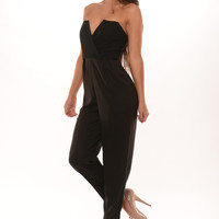 Tube V Wire Jumpsuit - Black