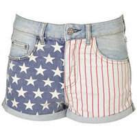 MOTO Bleach Flag Print Hotpants - Shorts - Topshop