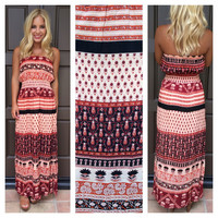 Sumatra Printed Strapless Maxi Dress