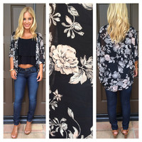 Summer Breeze 3/4 Sleeve Kimono - BLACK