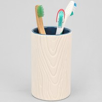 Faux Wood Toothbrush Holder