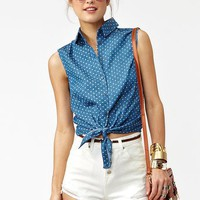 Spotted Chambray Top in  Clothes Tops at Nasty Gal