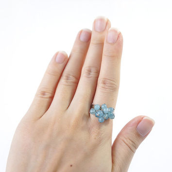 Genuine Aquamarine Ring, Light Blue Stone Cluster Adjustable Ring, Aquamarine Jewelry, March Birthstone