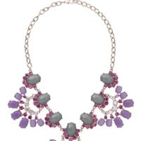 Purple Rhinestone and gem fan statement necklace