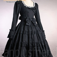 Fantasy Classical Gothic Lolita Frilly Long Sleeves Dress