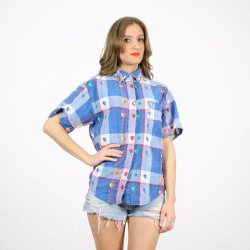Vintage Plaid Shirt Blue White Pink Western Shirt Preppy Shirt Studded Collar Shirt Blouse Top 1980s 80s New Wave Heart Embroidered M Medium